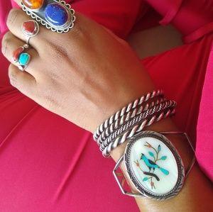 Sterling Native American blue bird inlay cuff
